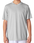 Grey colored UltraClub 8420Y Boys and Girls Cool & Dry Sport Performance Interlock grey colored t-shirts.