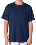 Navy blue color UltraClub 8420Y Youth Cool & Dry Sport Performance Interlock navy blue colored t-shirts.