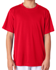 Red color UltraClub 8420Y Youth Cool & Dry Sport Performance Interlock red colored t-shirts.