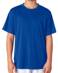 Royal blue color UltraClub 8420Y Kids Cool & Dry Sport Performance Interlock royal blue colored t-shirts.