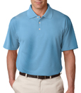 Columbia Blue color - UltraClub 8445 Men's Cool & Dry Stain-Release Performance Polo Shirt.