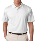 White color - UltraClub 8445 Men's Cool & Dry Stain-Release Performance Polo Shirt.