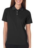 Black colored UltraClub 8445W Ladies Cool & Dry Stain-Release Performance Polo Shirt with Embroidery.