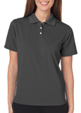 Charcoal color UltraClub 8445W Ladies Cool & Dry Stain-Release Performance Polo Shirt with Embroidery.