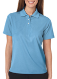 Columbia Blue colored UltraClub 8445W Ladies Cool & Dry Stain-Release Performance Polo Shirt with Embroidery.