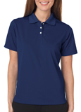 Navy colored UltraClub 8445W Ladies Cool & Dry Stain-Release Performance Polo Shirt with Embroidery.