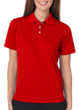 Red colored UltraClub 8445W Ladies Cool & Dry Stain-Release Performance Polo Shirt with Embroidery.