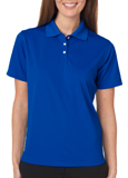 Royal blue color UltraClub 8445W Ladies Cool & Dry Stain-Release Performance Polo Shirt with Embroidery.