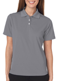 Grey colored UltraClub 8445W Ladies Cool & Dry Stain-Release Performance Polo Shirt with Embroidery.