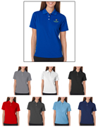 Group of UltraClub 8445W Ladies Cool & Dry Stain-Release Performance Polo Shirts with Embroidery.