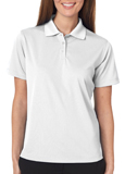 White colored UltraClub 8445W Ladies Cool & Dry Stain-Release Performance Polo Shirt with Embroidery.