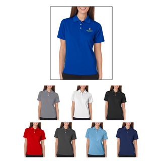 UltraClub #8445W Ladies' Cool and Dry Stain Release Polo Shirt available in brown, whitem navy, light blue, heather and black.